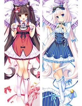Japanese Anime Game Nekopara Chocola Vanilla Body Pillow Cover Case Decorative Waifu Pillowcases Throw Otaku Dakimakura Zierkissenbezüge Cover Kissenbezüge case 150x50cm Peach Skin - 1