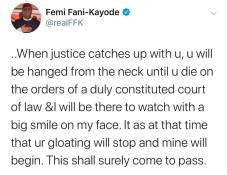 You will be hanged from the neck until u die - FFK