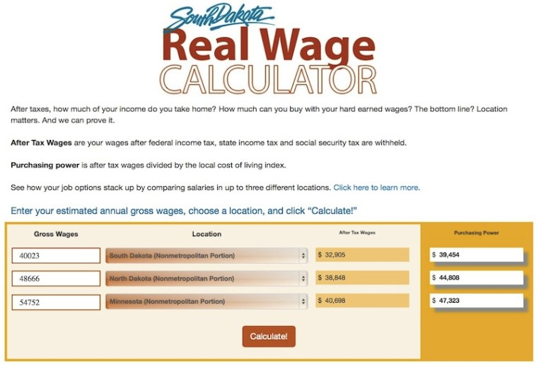 SD Real Wage Calculator comparing average teacher salaries in non-metro SD, ND, and MN