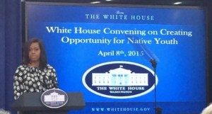 First Lady Michelle Obama addresses a White House meeting on American Indian youth, April 8, 2015.