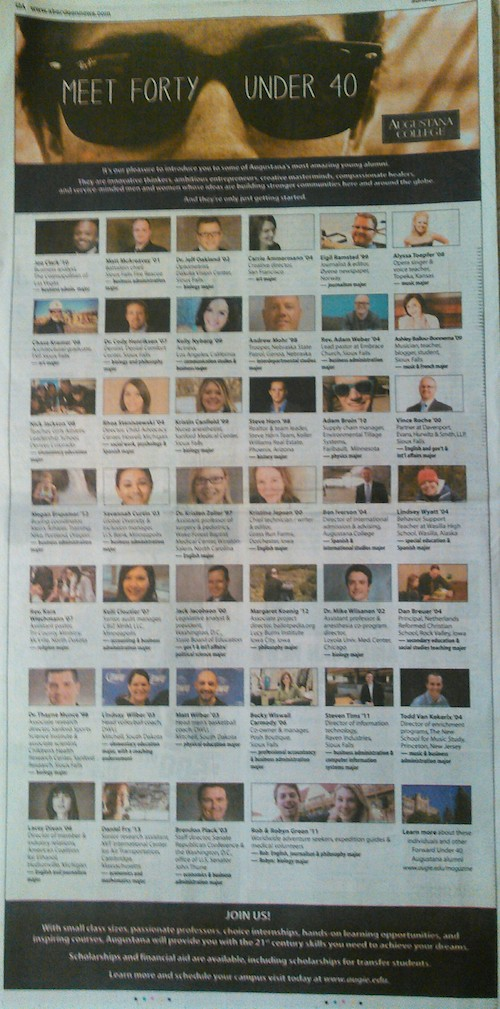 Augustana College ad, Aberdeen American News, 2015.05.18, p12A.