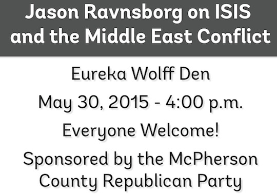 Ravnsborg flyer for speech to McPherson County GOP on ISIS, May 30, 2015. Downloaded 2015.05.31