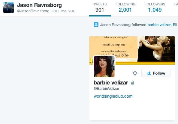 Jason Ravnsborg follows online dating service on Twitter—screen cap 2015.05.31