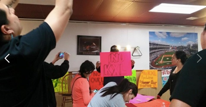 Sisseton-Wahpeton youth preparing for the May 8 Watertown anti-Keystone XL rally, 2015.05.06. Photo by Aldo Seoane.