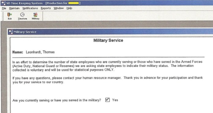 SD Time Keeping System, Military tab, screen cap by Thomas Leonhardt