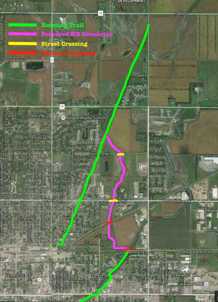 Proposed Northeast Connector joining Moccasin Creek and Ordway trails, Aberdeen, South Dakota.