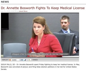 Annette Bosworth offers closing arguments at license-revocation hearing, South Dakota Board of Medical and Osteopathic Examiners, Sioux Falls, SD, 2015.07.31. Screen cap from KELO-TV.