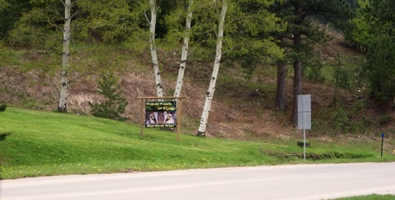 Friday, May 22, 2015: Petter has the sign up in front of her new Deadwood wolf exhibit, which she said she expected to have open by this day.