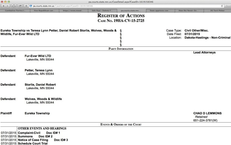 Screen cap showing Eureka Township civil suit against Teresa Petter, Dan Storlie, and their business entities Fur-Ever Wild and Wolves, Woods & Wildlife, filed 2015.07.31, downloaded 2015.08.03.