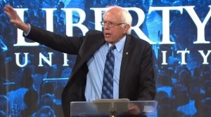 Sen. Bernie Sanders speaks at Liberty University, 2015.09.14. Screen cap from YouTube.