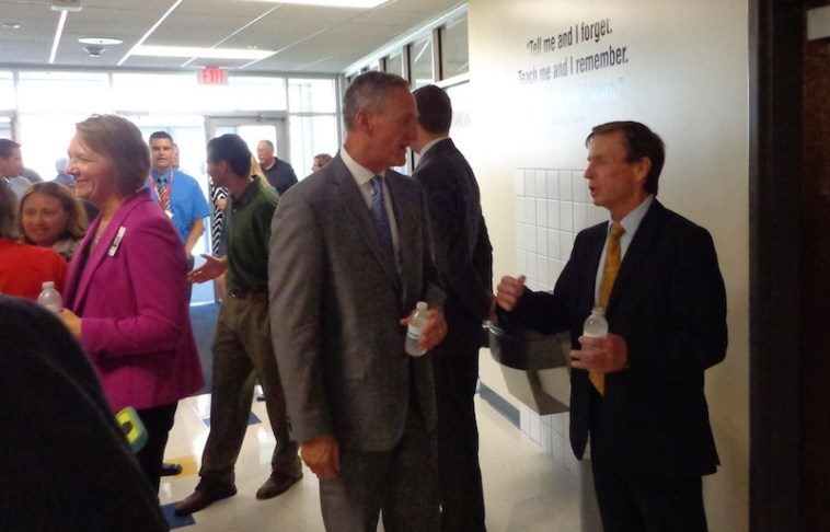 Governor Daugaard and Mayor Levsen cool off inside the A-TEC Academy.