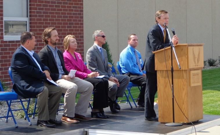 Mayor Mike Levsen speaks at ribbon-cutting for A-TEC Academy, Aberdeen, South Dakota