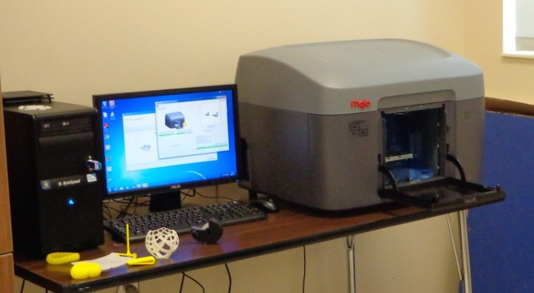 CO-OP Architecture of Aberdeen donated this $6,950 Stratasys Mojo 3-D printer for A-TEC engineering classes.