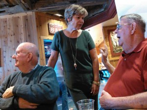 SDGOP chair Pam Roberts visits with the party faithful at the Brown County Republicans Reagan Lunch, at Mavericks, Aberdeen, South Dakota, 2015.09.10.