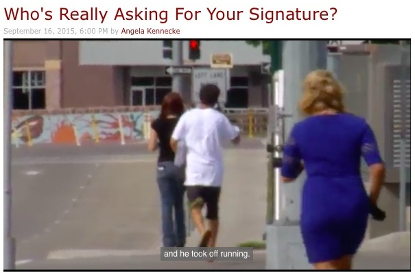 Action News! Angela Kennecke chases an illegal petition circulator for the best South Dakota television this year! Screen cap from KELO-TV, 2015.09.16.