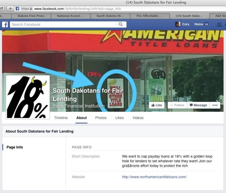 "Fake Facebook page for ""South Dakotans for Fair Lending,"" screen cap 2015.09.17."