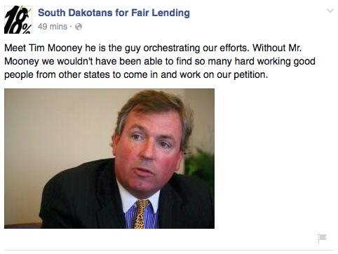 Fake SDFL FB post on Tim Mooney, founding partner of Silver Bullet LLC.