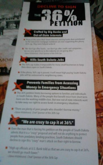 "petition pamphlet from Lisa Furlong's ""South Dakotans for Fair Lending"", discouraging signers of real 36% rate cap."