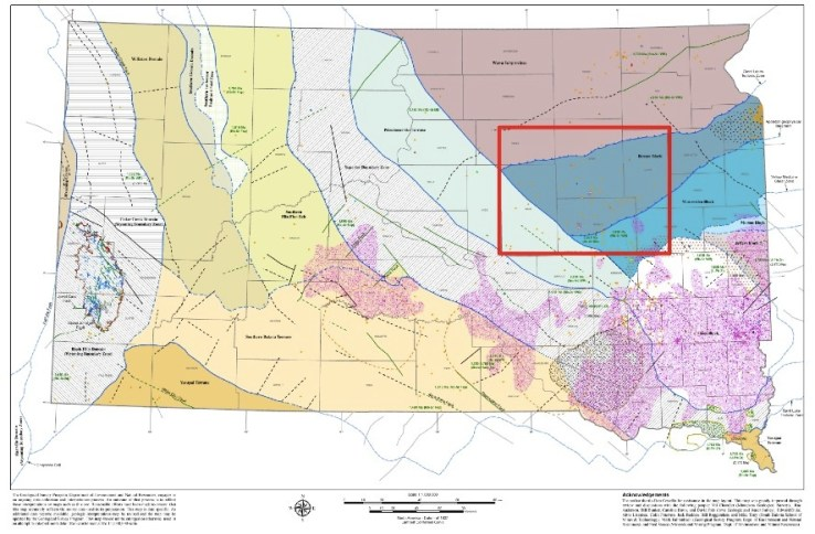 Counties included in Deep Borehole Field Test representative area in South Dakota: Faulk, Hand, Spink, Beadle, Clark, and Kingsbury. From Arnold et al./Sandia, September 2014, p. 11.