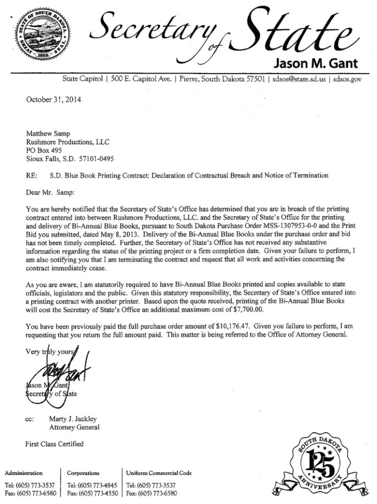Jason Gant, South Dakota Secretary of State, letter to Matthew Samp, Rushmore Productions, 2014.10.31