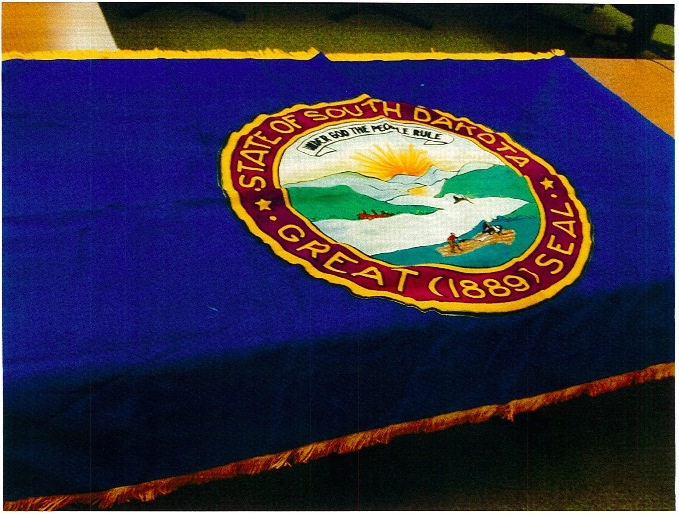 One of two original South Dakota state flags, commissioned 1909, stolen January 2015, recovered October 2015. Photo courtesy South Dakota Attorney General's office.