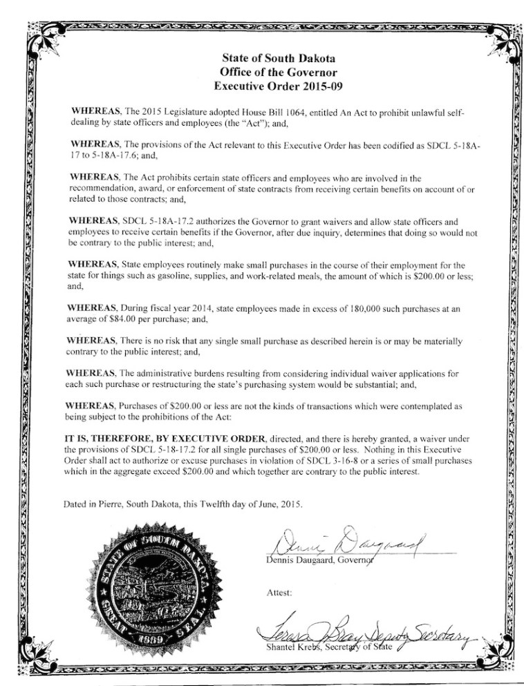 Governor Dennis Daugaard, Executive Order 2015-09, 2015.06.12.