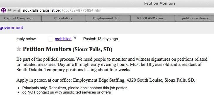 Screen cap, Sioux Falls Craigslist, petition monitor job post, October 2, 2015.