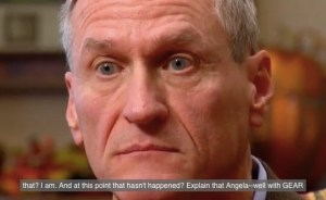 Governor Dennis Daugaard stares unblinkingly at corruption. Screen cap, KELO-TV, 2015.11.12.