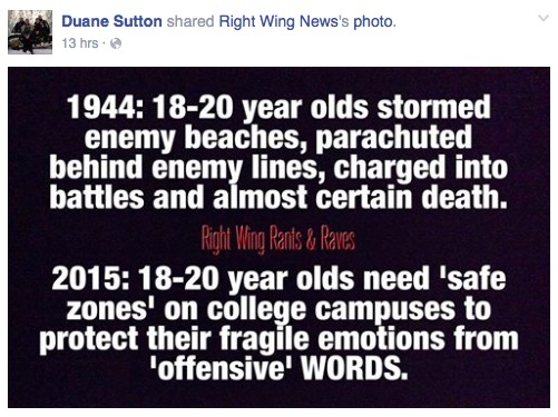 Brown County Commissioner Duane Sutton, Facebook post, 2015.11.29