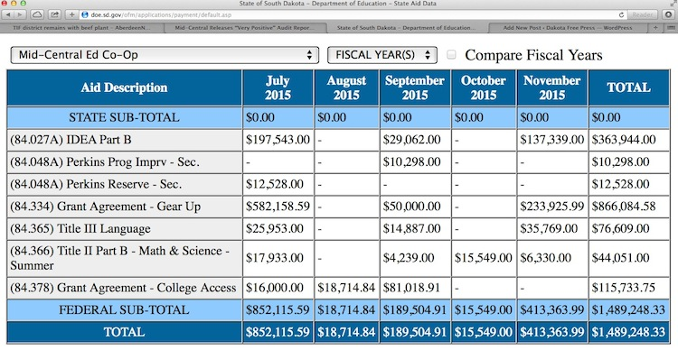 SD Dept. Education payments database, screen cap 2015.12.04