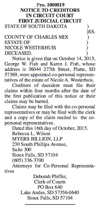 Notice to Creditors of Nicole Westerhuis, Platte Enterprise, 2015.20.29, p. 2.