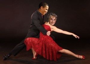 Barack Obama and Betty Olson dancing