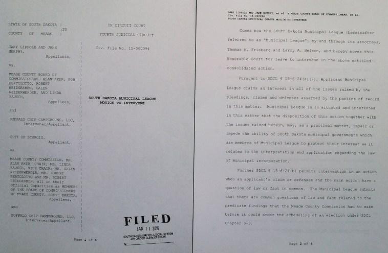 SD Municipal League, motion to intervene, 46CIV15-000094, 2016.01.11, pp 1-2.