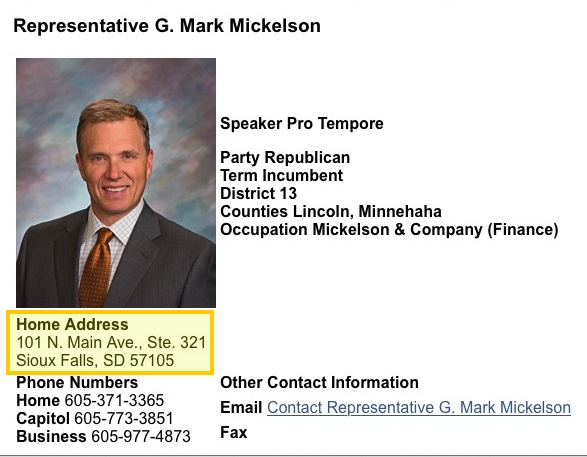 Rep. G. Mark Mickelson contact info 20160209