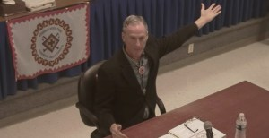 Governor Dennis Daugaard tells Indians how to spend their money. Screen cap from Rosebud Sioux Tribe council meeting, 2016.04.21.