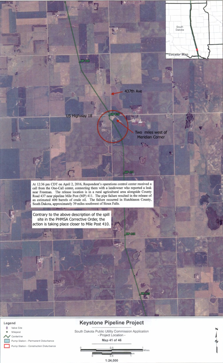 TransCanada Keystone leak site, six miles east of Menno, South Dakota, annotated from PUC project map #41.