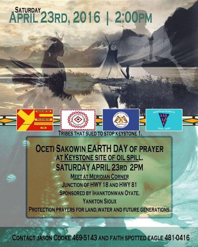 Keystone pipeline spill prayer circle protest poster, Saturday, April 23, 2016