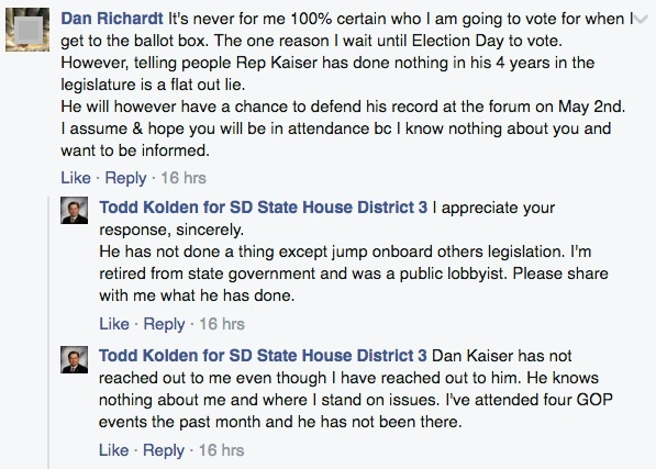 Todd Kolden for SD State House District 3, Facebook discussion, 2016.04.26.