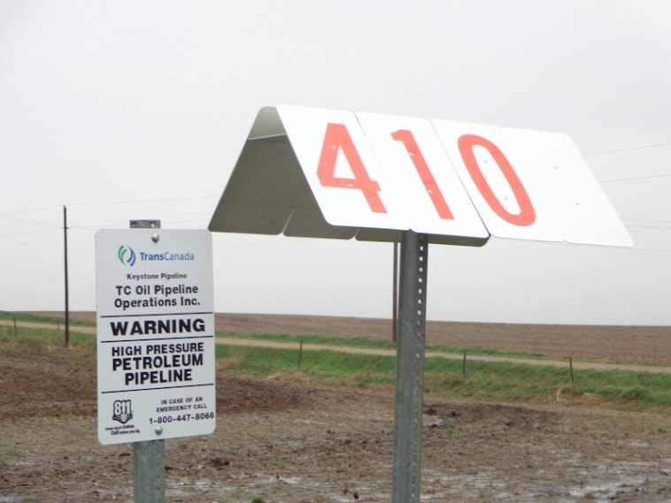 Mile Marker 410 of TransCanada Keystone pipeline, at the intersection of U.S. Highway 18 and 437th Avenue, six miles west of downtown Menno, South Dakota.