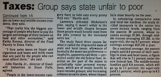 "Lisa Gutierrez, ""State's Tax Unfair to Poor, Study Says,"" that Sioux Falls paper, 1987.01.15, p. 2."