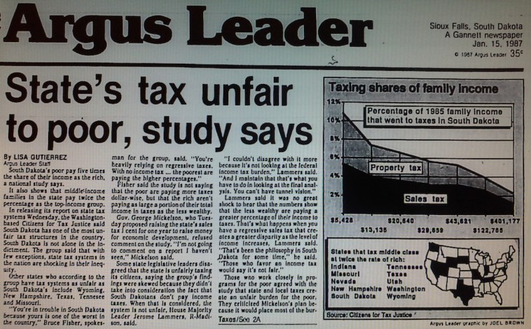 "Lisa Gutierrez, ""State's Tax Unfair to Poor, Study Says,"" that Sioux Falls paper, 1987.01.15, p. 1."