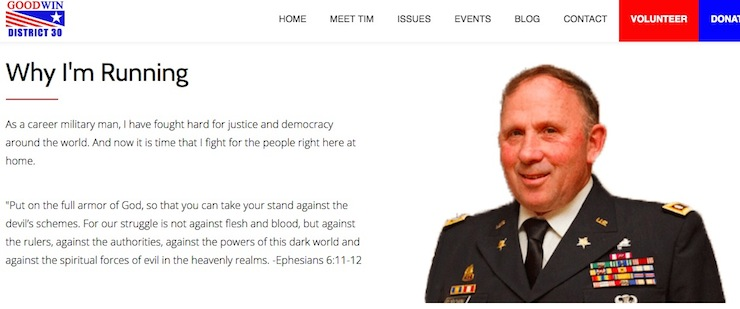 """Tim R. Goodwin, District 30 Hosue campaign home page, in violation of <a href=""""http://www.dod.mil/dodgc/defense_ethics/ethics_regulation/1344-10.html"""">DOD Directive 1344.10-4.3.2.1</a>, screen cap 2016.05.09."""