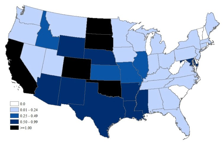West Nile Virus Neuroinvasive Disease Incidence by State per 100,000 population – United States, 2015 (as of January 12, 2016). Source: CDC.