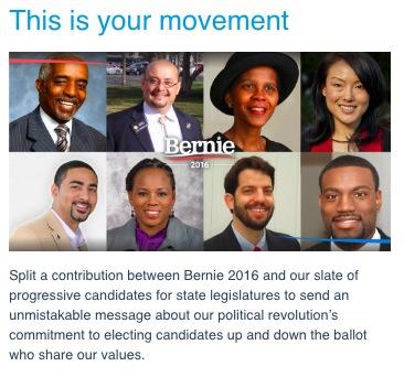 Bernie for State Candidates, ActBlue screen cap, 2016.05.25
