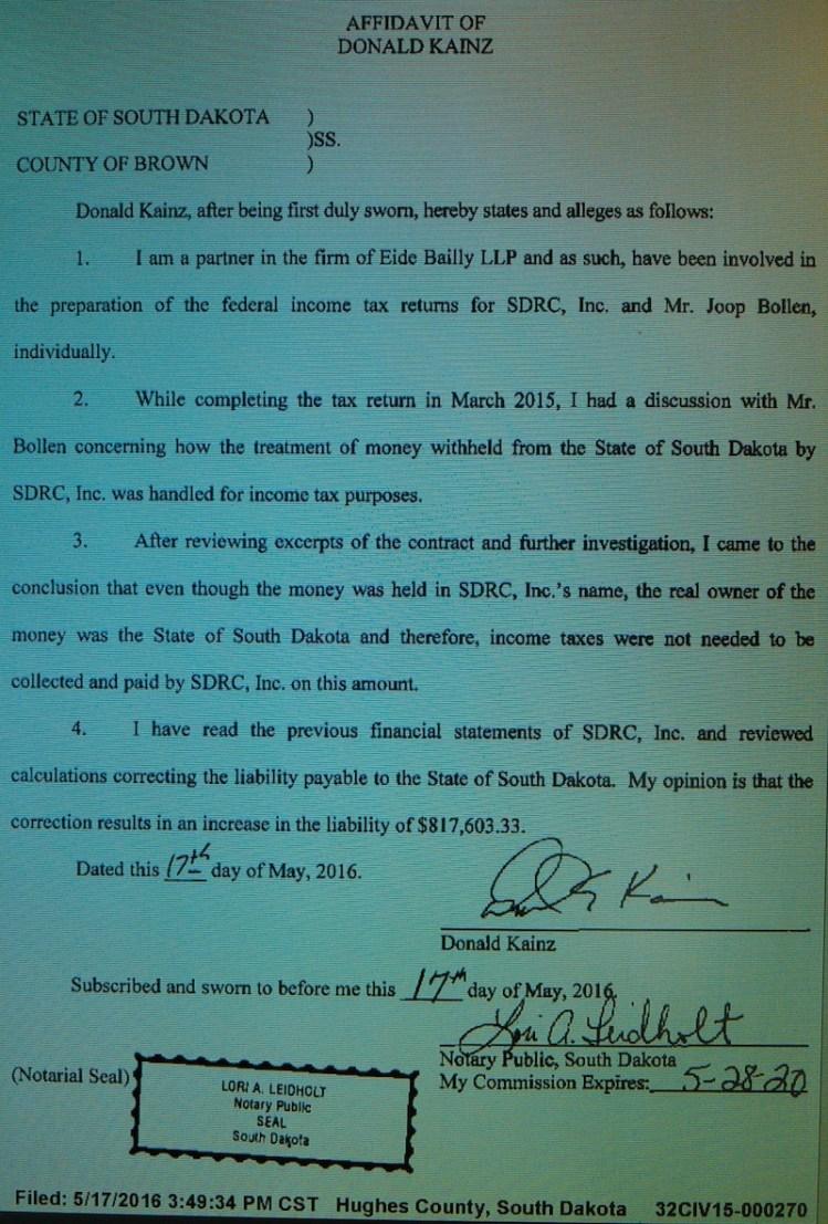 Donald Kainz, Eide Bailly LLC, affidavit, State v SDRC Inc, 2016.05.17