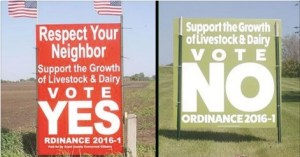 Competing signs in Grant County CAFO setback referndum; photo posted by Grant County Development Corporation, Facebook, 2016.06.07.