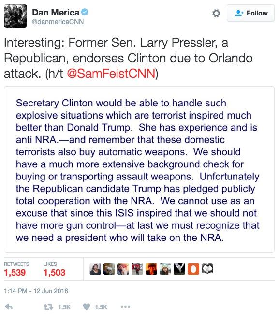 Pressler endorse Clinton 20160612
