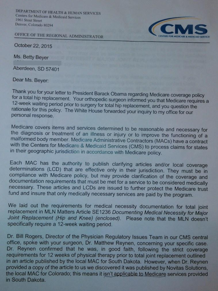 CMS Region 8 admin. Jeff Hinson, letter to Betty Beyer, 2015.10.22, p. 1.