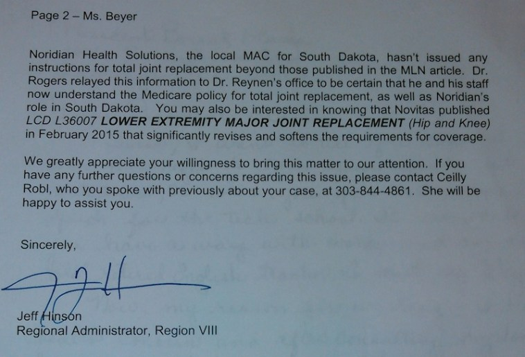 CMS Region 8 admin. Jeff Hinson, letter to Betty Beyer, 2015.10.22, p. 2.