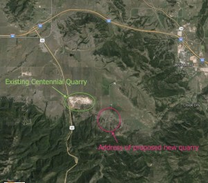Proposed Centennial Valley quarry site—annotated from Google Maps.